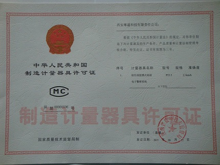 Measuring instruments manufacturing license